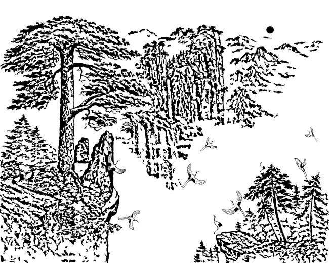 仙鹤 山水瀑布 松树 江山如画