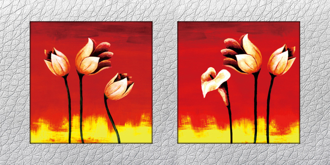 抽象手绘花卉油画