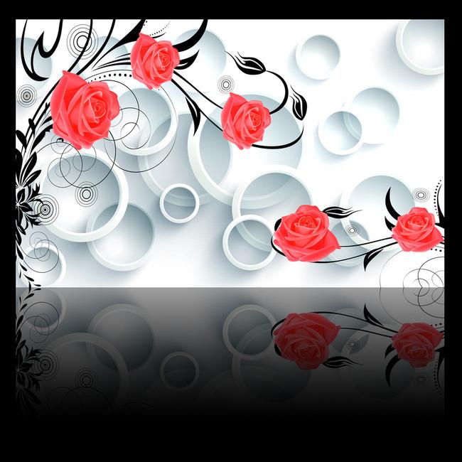 3d立体圆圈玫瑰花藤电视背景墙装饰画