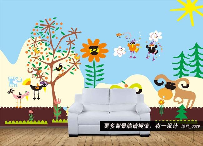 0029卡通幼儿园动物可爱动物背景墙