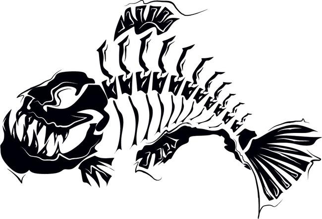 鱼骨纹身图案