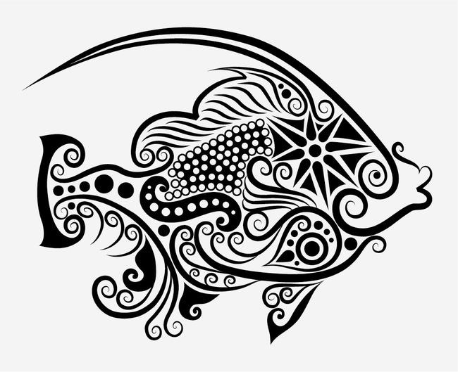 t恤图案 花纹图案图案设计摇滚鱼 t恤印花图案 面料印花 鱼纹身图案
