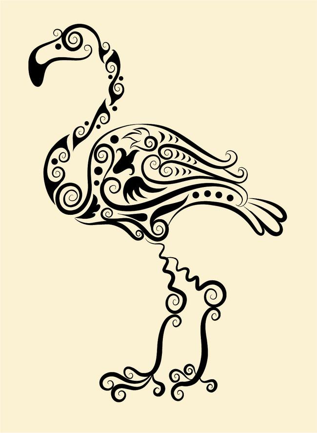 火烈鸟纹身图案