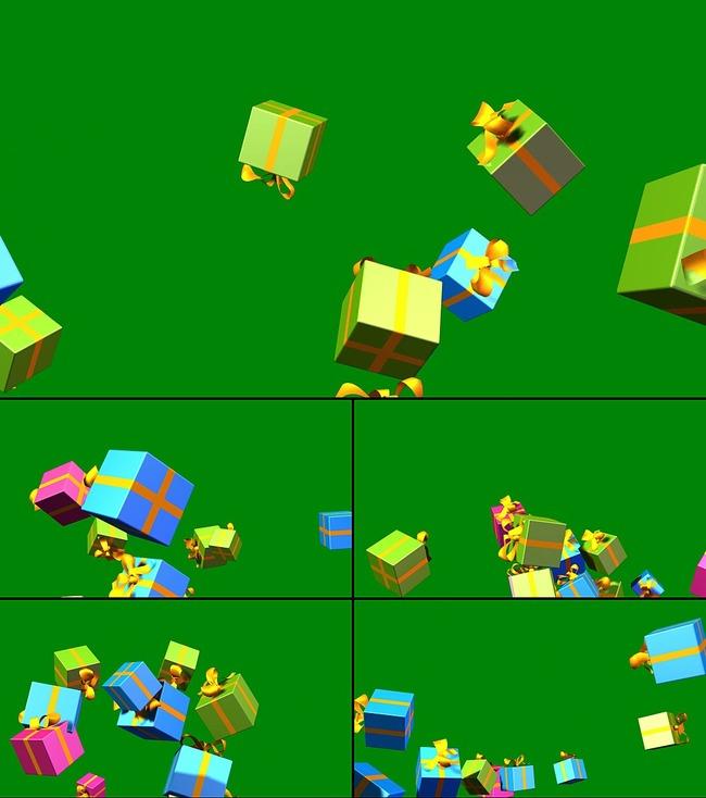 粒子礼品礼盒翻滚跳出绿背抠像合成动态