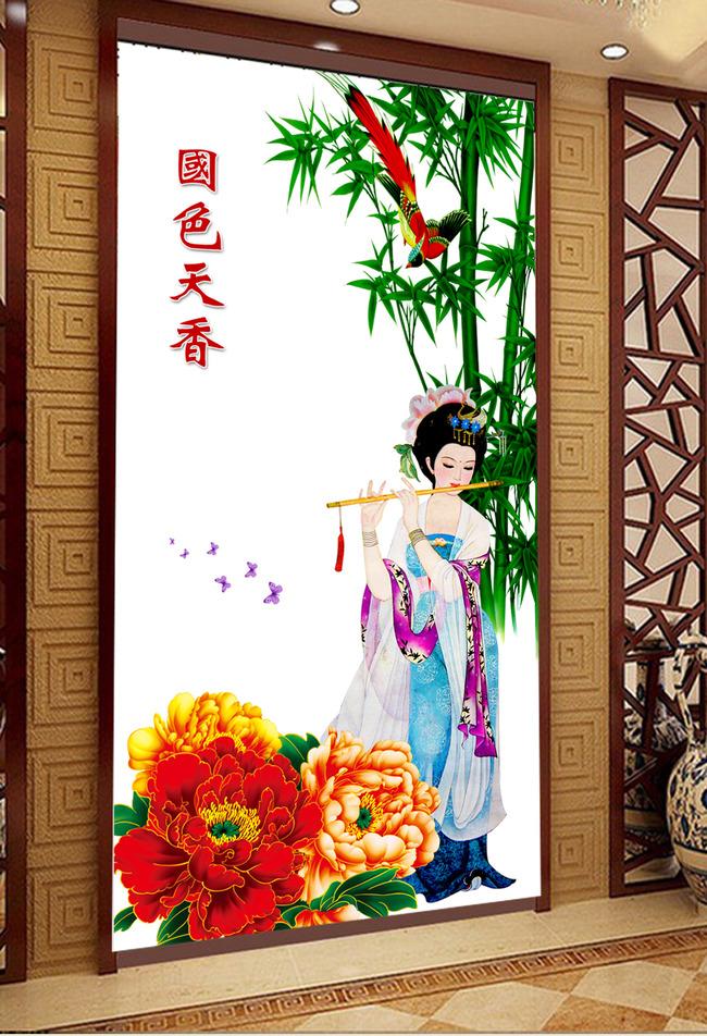 图古代美女吹笛玄关