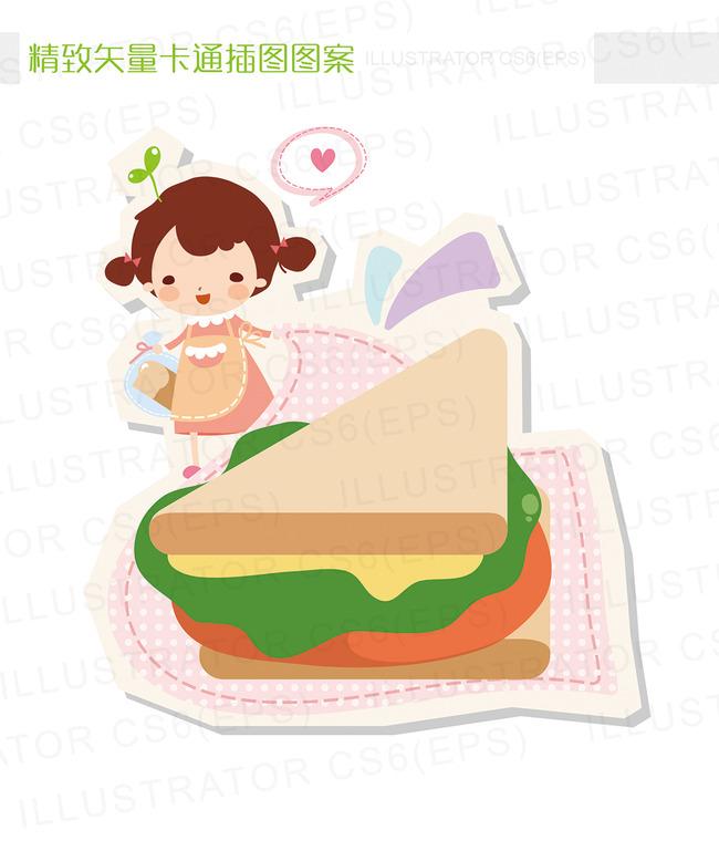 精致矢量卡通女孩三明治插图图片