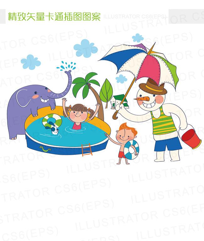 精致矢量卡通夏天游泳池插图
