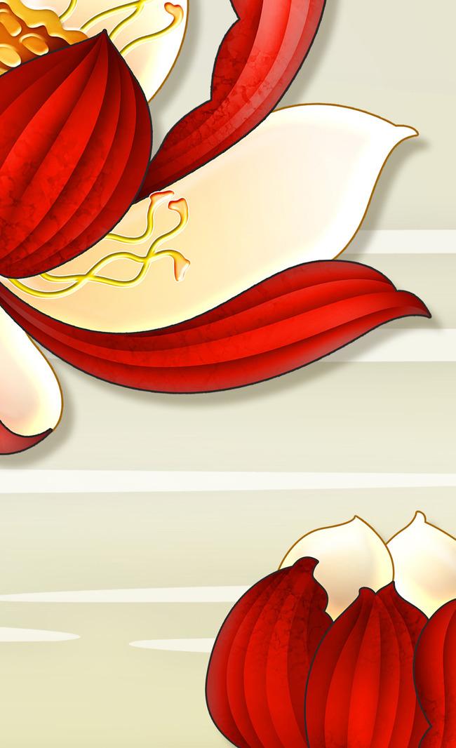 印花 国画 壁纸      古典 手绘 花开富贵 3d 圆圈 沙发      红莲