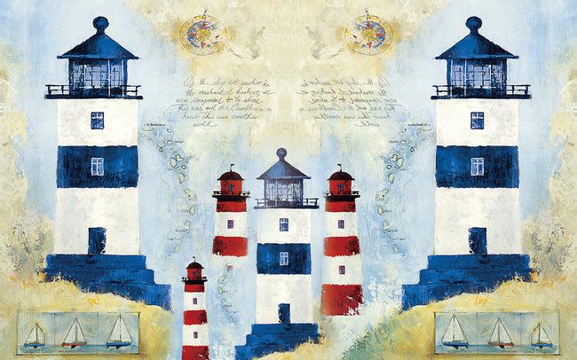 地中海灯塔油画手绘电视背景墙