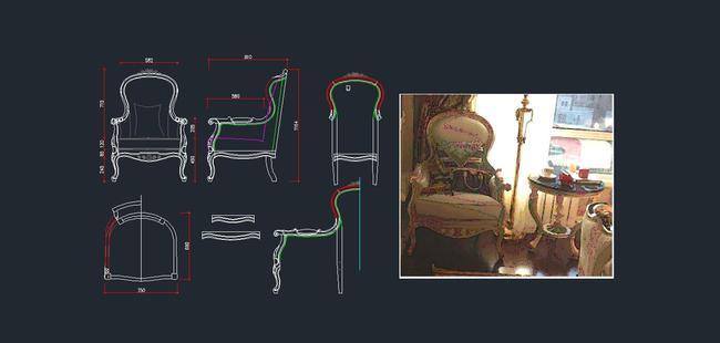 欧式家具cad图纸,休闲椅cad下载2
