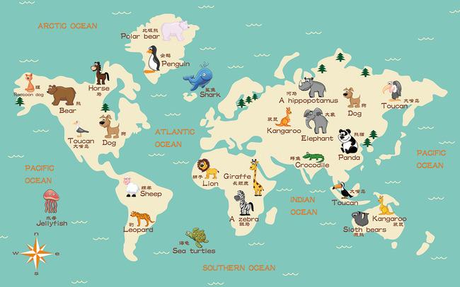 动物世界地图电视背景墙