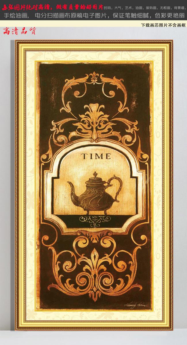欧式竖幅钟表抽象油画装饰画无框画4高清图片下载()