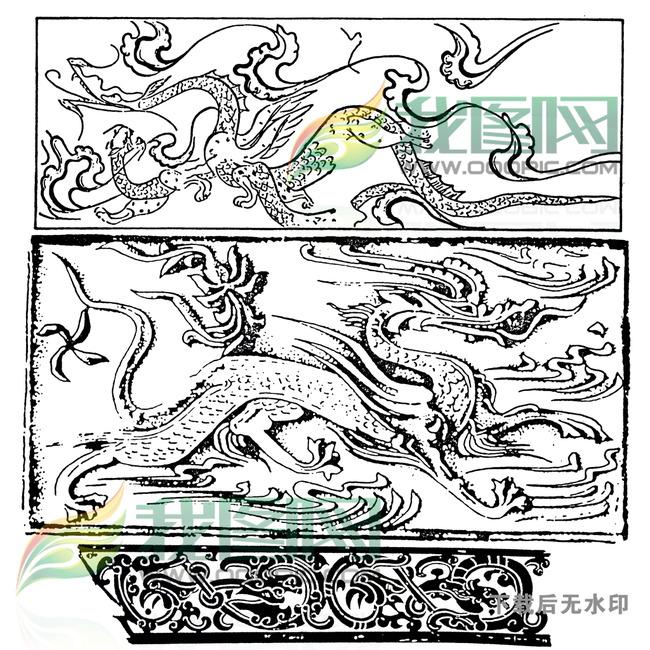 传统图案大全龙纹凤凰仙鹤麒麟