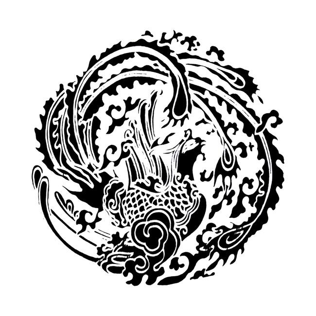 龙凤呈祥 祥云图案 如意吉祥图腾 花纹 浮雕花纹 立体花纹 拓片图案
