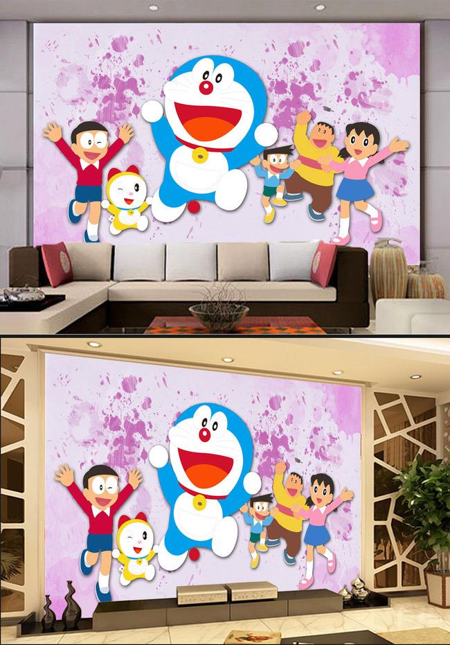 日本动漫卡通漫画哆啦a梦电视客厅背景墙