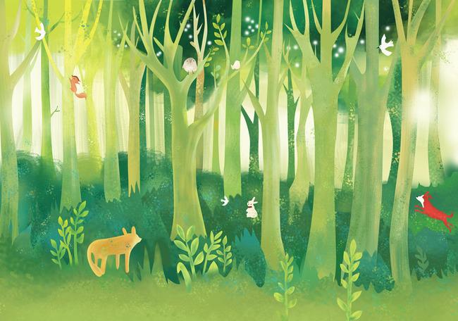 手绘大型森林背景墙绿草图片