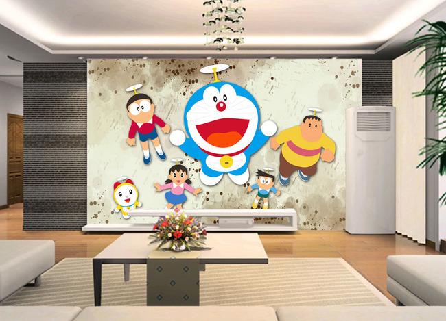 日本动漫卡通漫画机器猫电视客厅背景墙