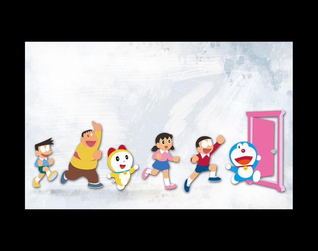 日本卡通动漫漫画哆啦a梦电视客厅背景墙