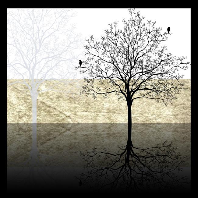 现代简约黑白树电视背景墙装饰画