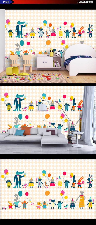 高清手绘卡通动物游乐场背景墙