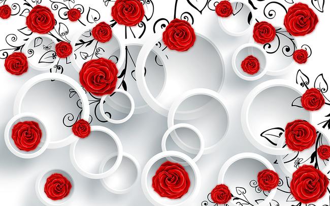 电视背景墙效果图 客厅背景墙 电视墙 花朵 浪漫 手绘 怀旧 个性 唯美