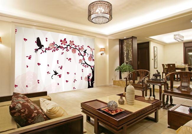背景墙|装饰画 电视背景墙 手绘电视背景墙 > 手绘花古风花树枝鸟竖条