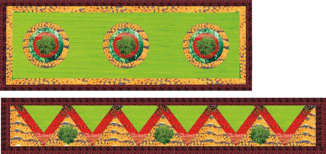 园林圆形花坛手绘平面图