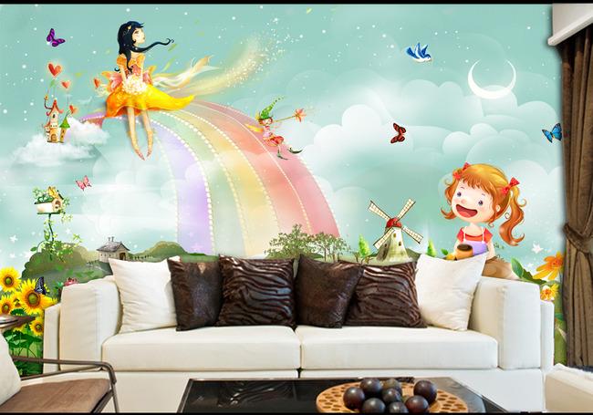 儿童房唯美卡通背景墙小孩房床头背景