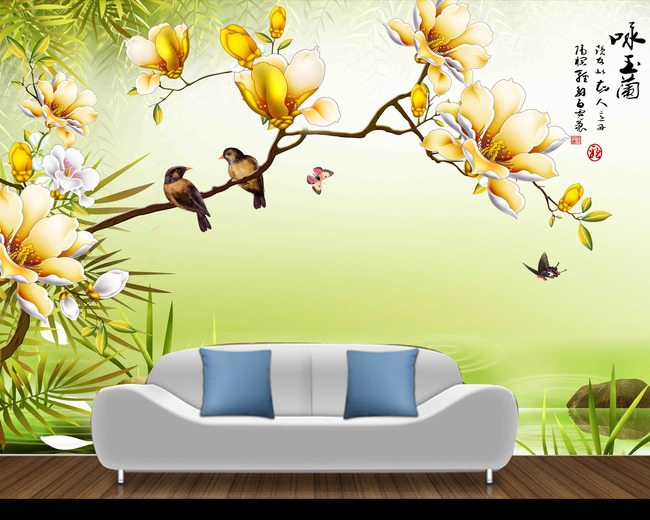 原创分层手绘彩雕玉兰花鸟背景