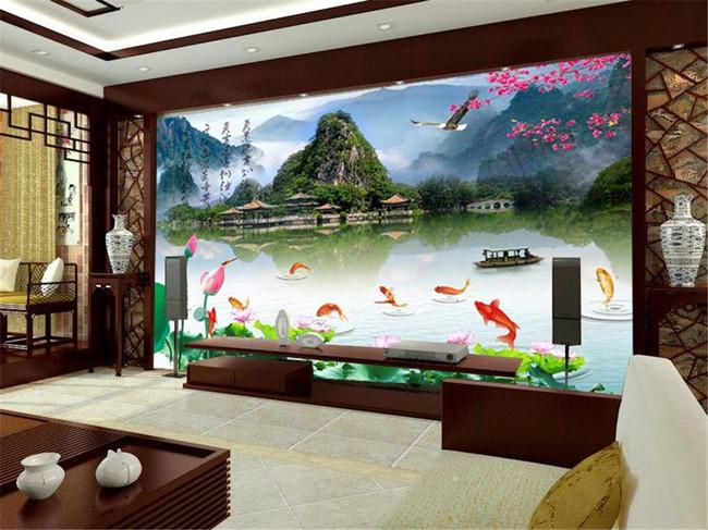 桂林山水中式中堂画鱼跃龙门荷花湖水背景墙图片