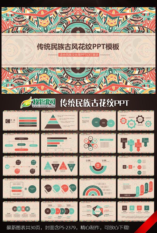 传统民族古风花纹ppt动态模板含ps图片