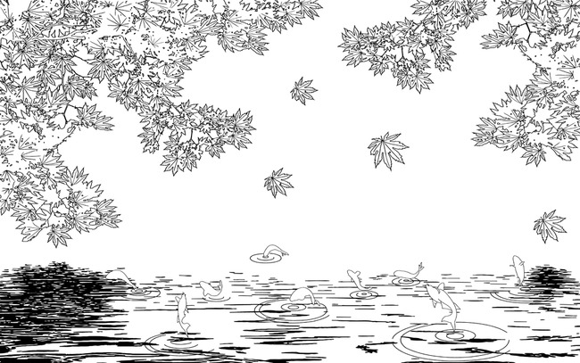 3d立体枫叶九鱼图红叶电视背景