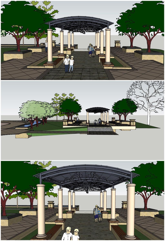 廊架花架 构筑 园林景观小品模型 地产公园景区场景 su草图模型 景观
