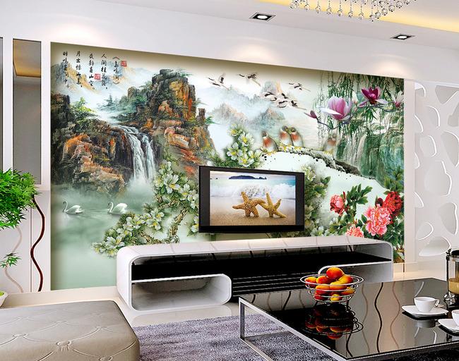 玉雕牡丹仙鹤山水画电视背景墙