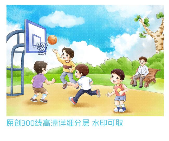 平面设计 其他 插画|元素|卡通 > 一群孩子打篮球  下一张&gt