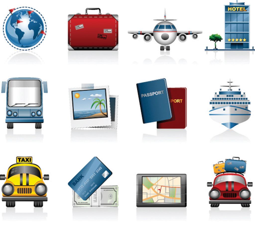 汽车图标-旅行出行汽车飞机图标矢量