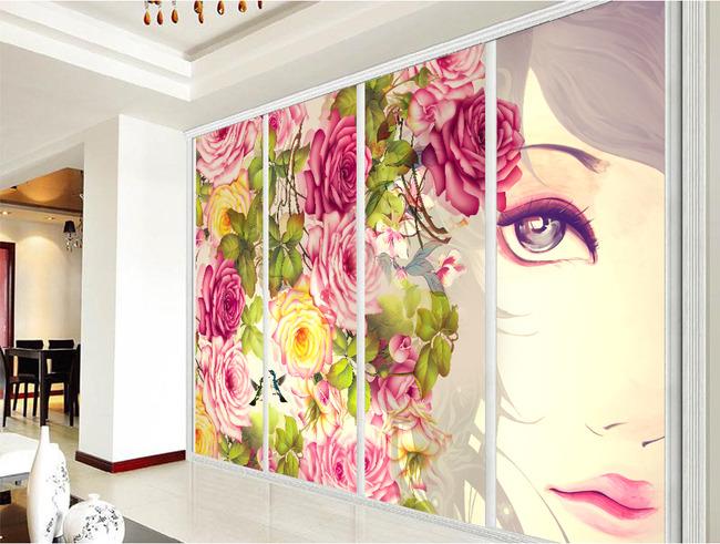时尚玫瑰花丛手绘美女客厅电视背景墙