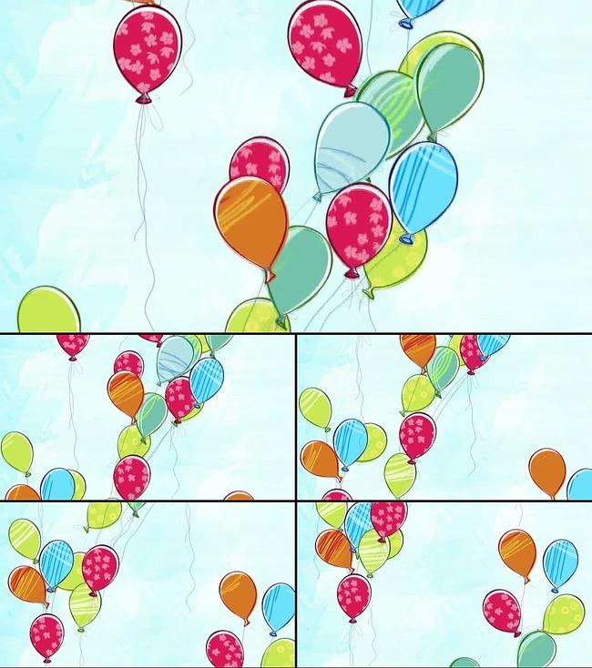 缤纷多彩卡通气球儿童节视频背景素材