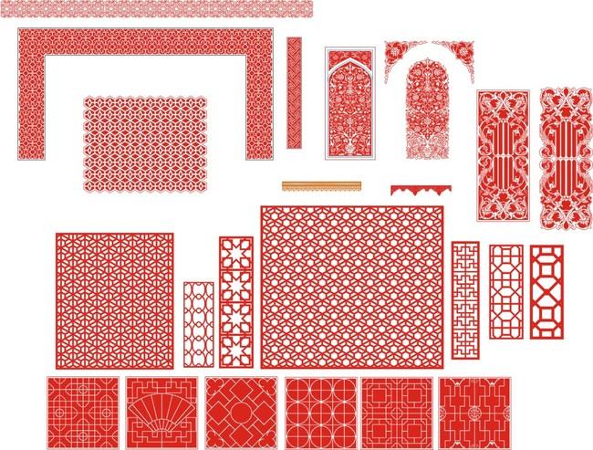 木雕花纹 镂空花纹 雕刻图案 镂空图案 窗框 喜字 传统花纹 窗格