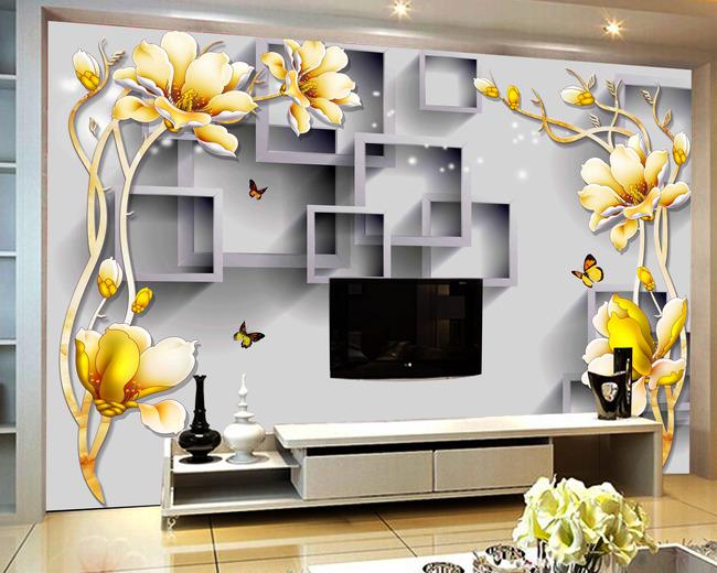 手绘3d立体彩雕玉兰花背景墙
