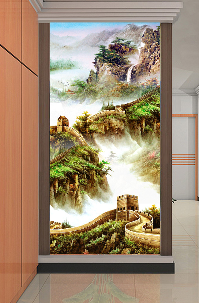 山水国画油画万里长城风景画玄关图