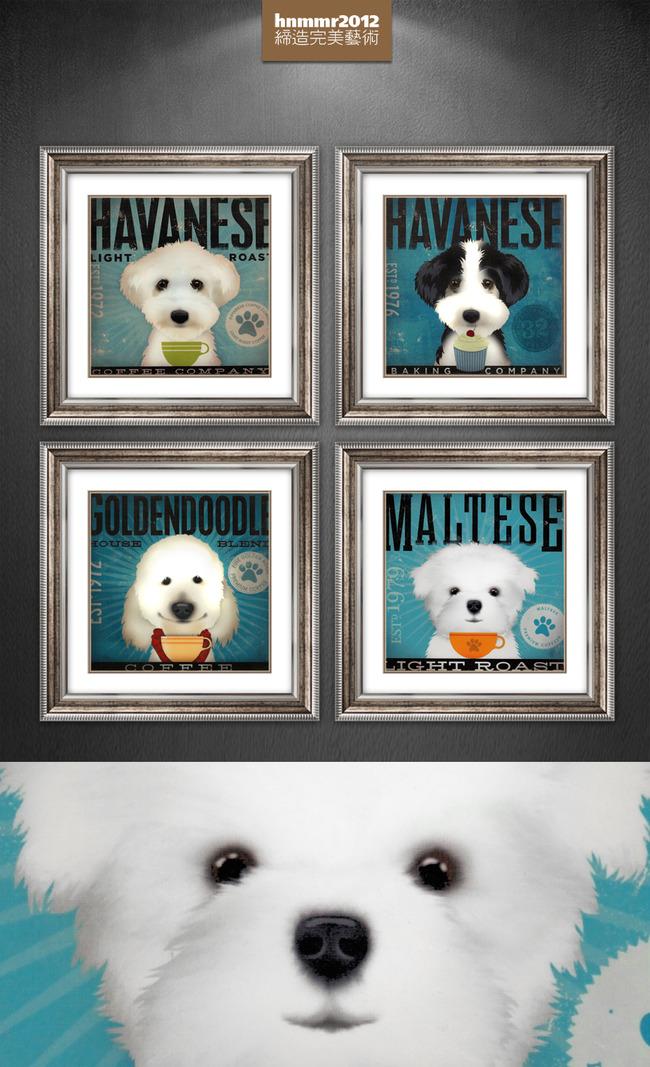 手绘可爱白色狗狗宠物小动物手绘装饰画