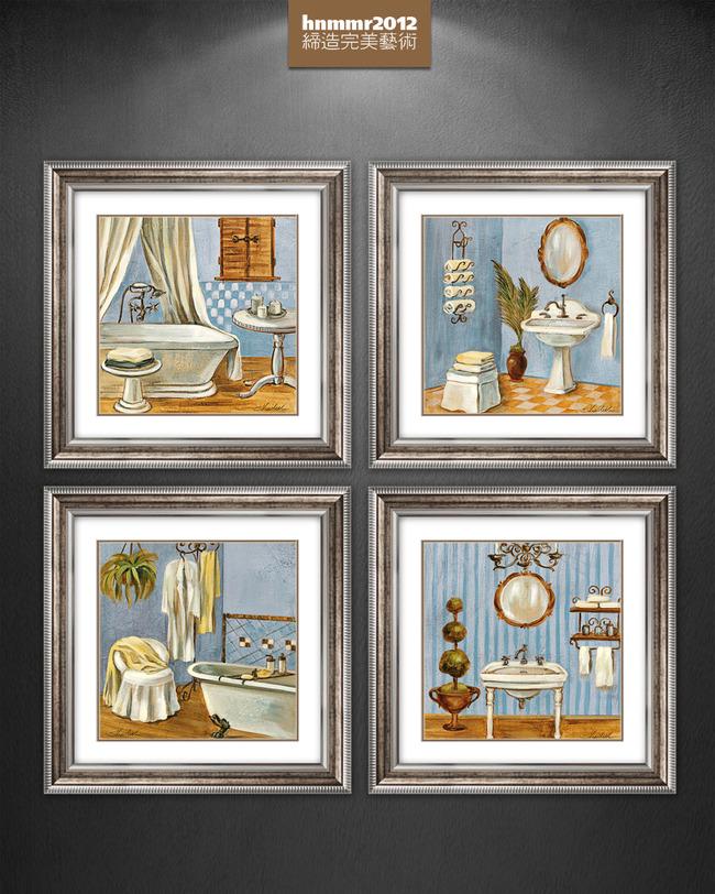 手绘浪漫复古小浴室洗手台油画装饰画图片下载