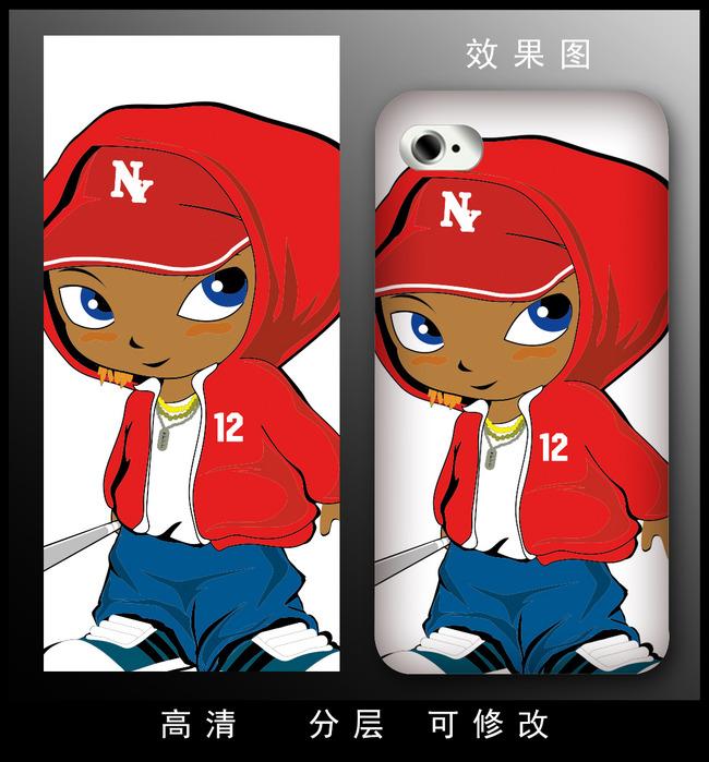 可爱q版男生手机壳图案设计图片下载 手机壳图案设计图图片下载 花朵