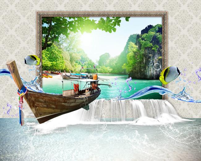3d船风景鱼海洋山水树图片