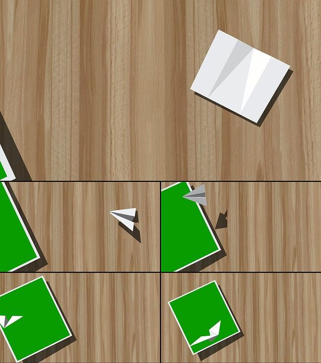 清新纸飞机动画转场视频素材绿背抠像