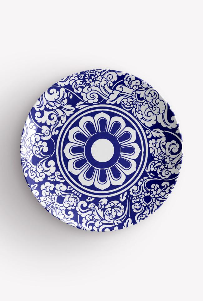 青花瓷盘花纹设计