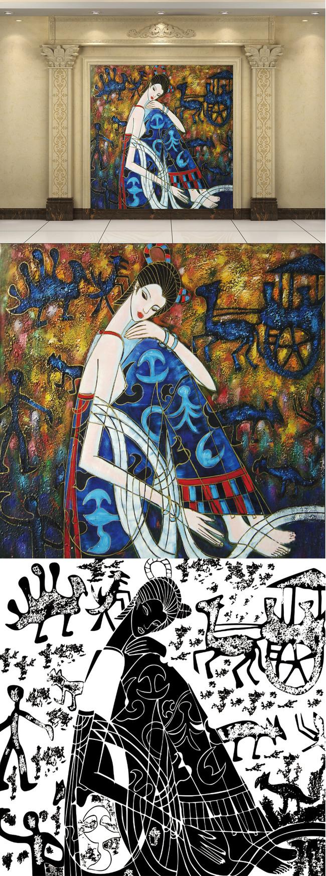 高清手绘抽象风格人物油画