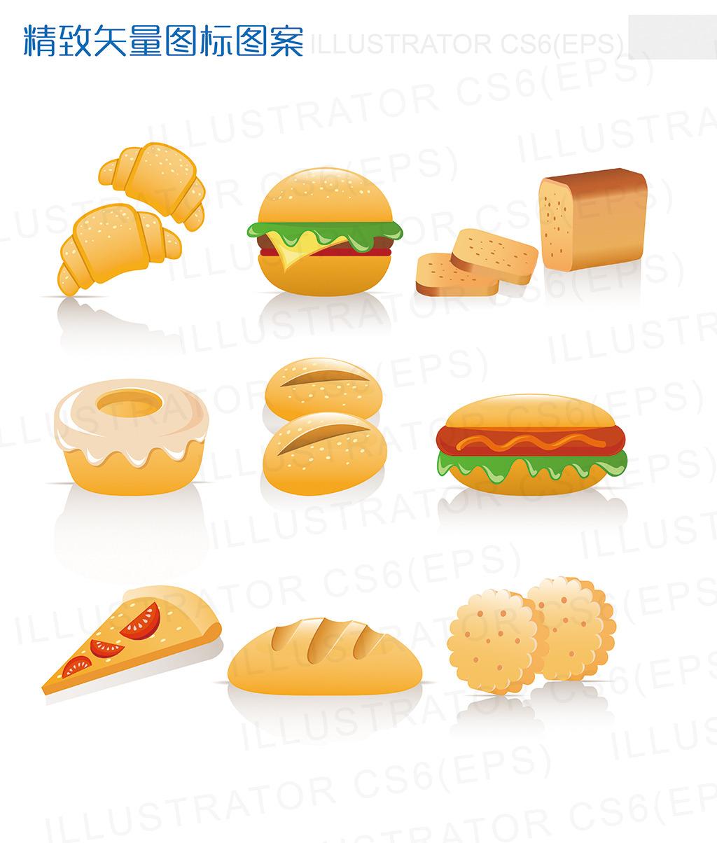 卡通快餐汉堡面包料理图标设计