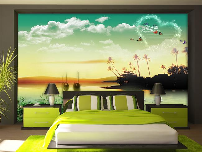 海边风简单手绘墙画